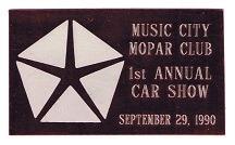 1990 Car Show Plaque