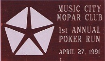 1991 Poker Run Plaque