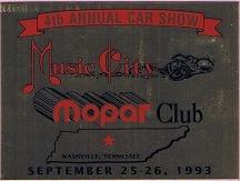 1993 Car Show Plaque