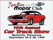 1999 Car Show Plaque