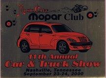 2000 Car Show Plaque