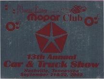 2002 Car Show Plaque