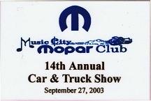 2003 Car Show Plaque