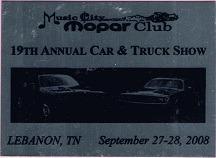 2008 Car Show Plaque
